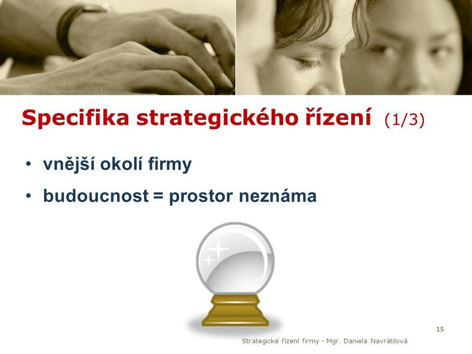 Specifika strategického řízení (1/3) vnější okolí firmy budoucnost = prostor neznáma 15 Strategické řízení firmy - Mgr. Daniela Navrátilová 15