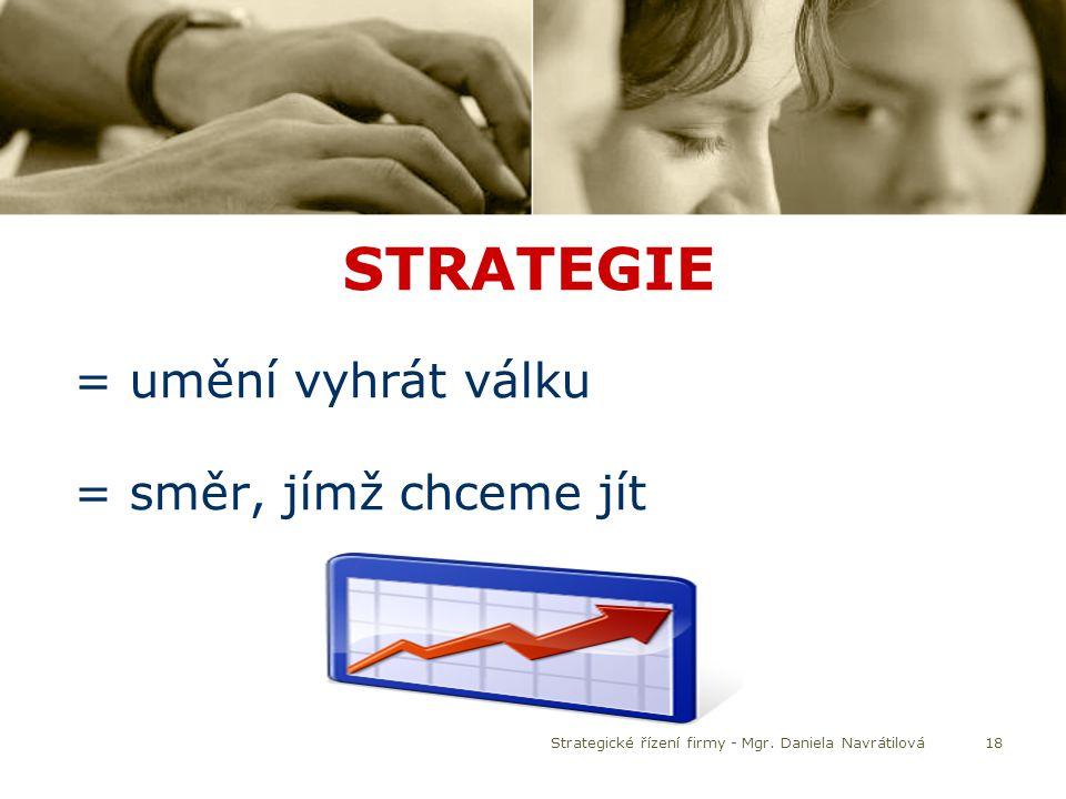 18 STRATEGIE = umění vyhrát válku = směr, jímž chceme jít Strategické řízení firmy - Mgr. Daniela Navrátilová