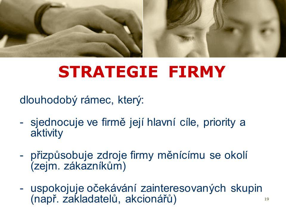 19 STRATEGIE FIRMY dlouhodobý rámec, který: -sjednocuje ve firmě její hlavní cíle, priority a aktivity -přizpůsobuje zdroje firmy měnícímu se okolí (z