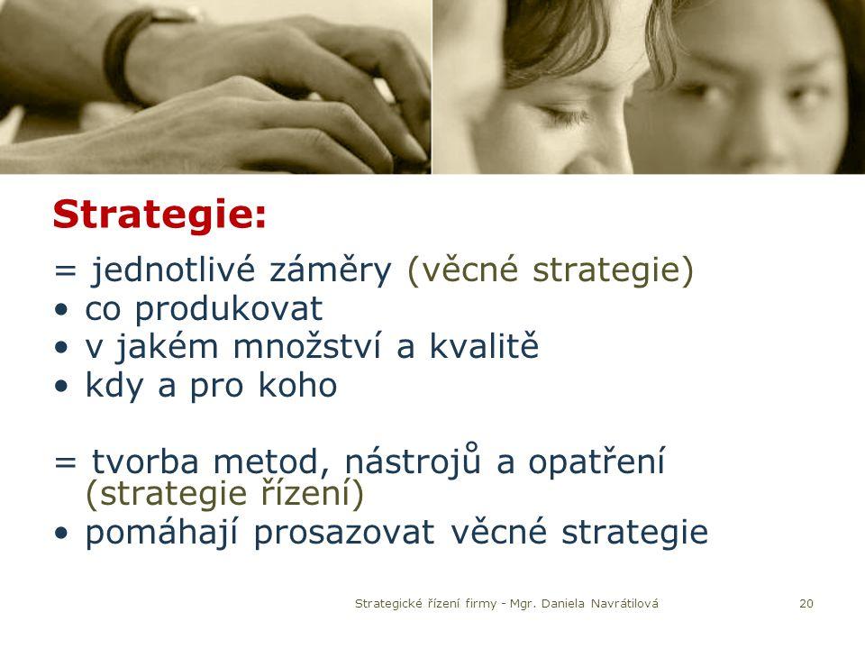20 Strategie: = jednotlivé záměry (věcné strategie) co produkovat v jakém množství a kvalitě kdy a pro koho = tvorba metod, nástrojů a opatření (strat