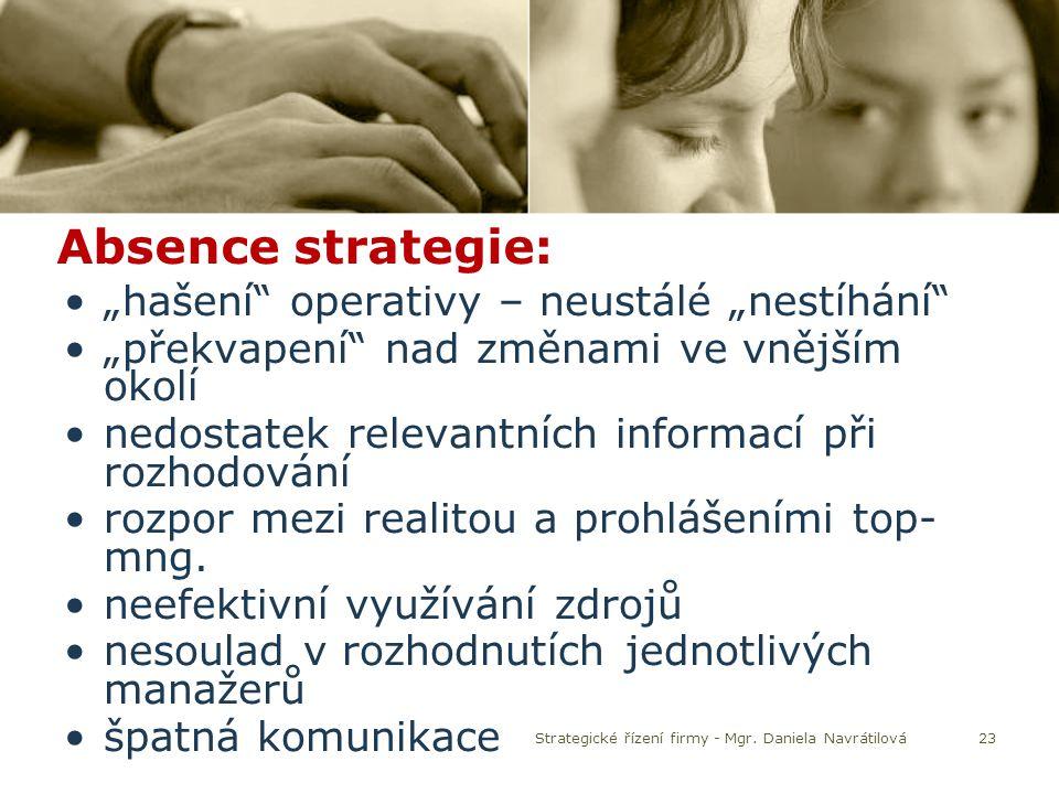 """23 Absence strategie: """"hašení"""" operativy – neustálé """"nestíhání"""" """"překvapení"""" nad změnami ve vnějším okolí nedostatek relevantních informací při rozhod"""