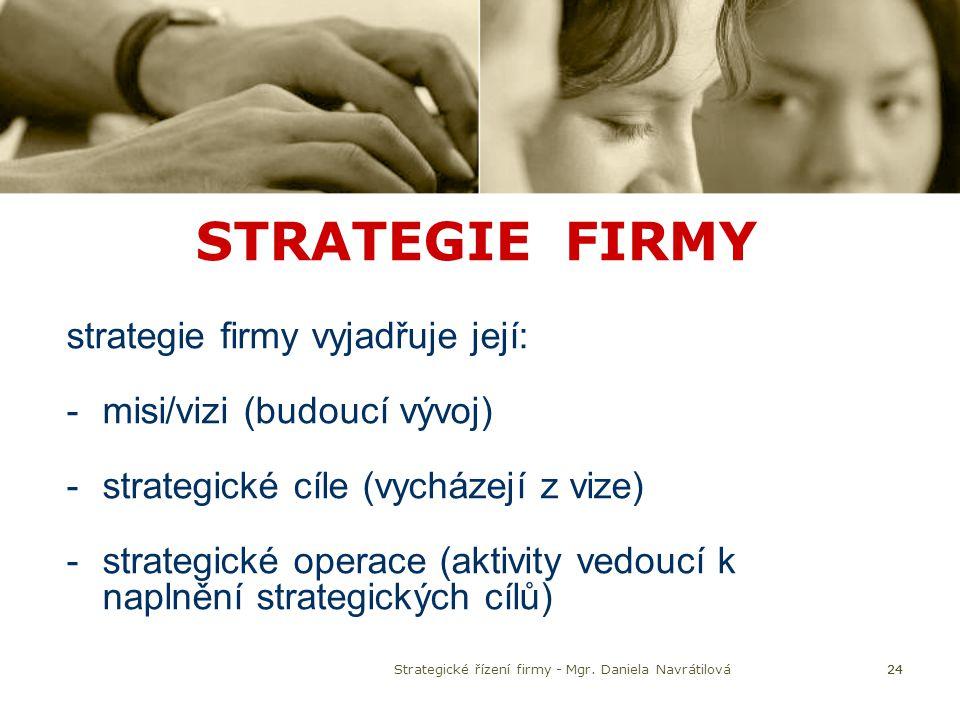 24 STRATEGIE FIRMY strategie firmy vyjadřuje její: -misi/vizi (budoucí vývoj) -strategické cíle (vycházejí z vize) -strategické operace (aktivity vedo