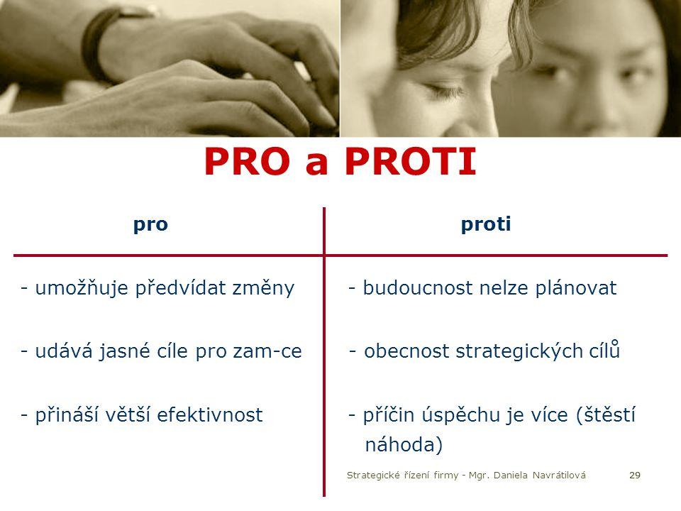 29 PRO a PROTI pro proti - umožňuje předvídat změny - budoucnost nelze plánovat - udává jasné cíle pro zam-ce - obecnost strategických cílů - přináší