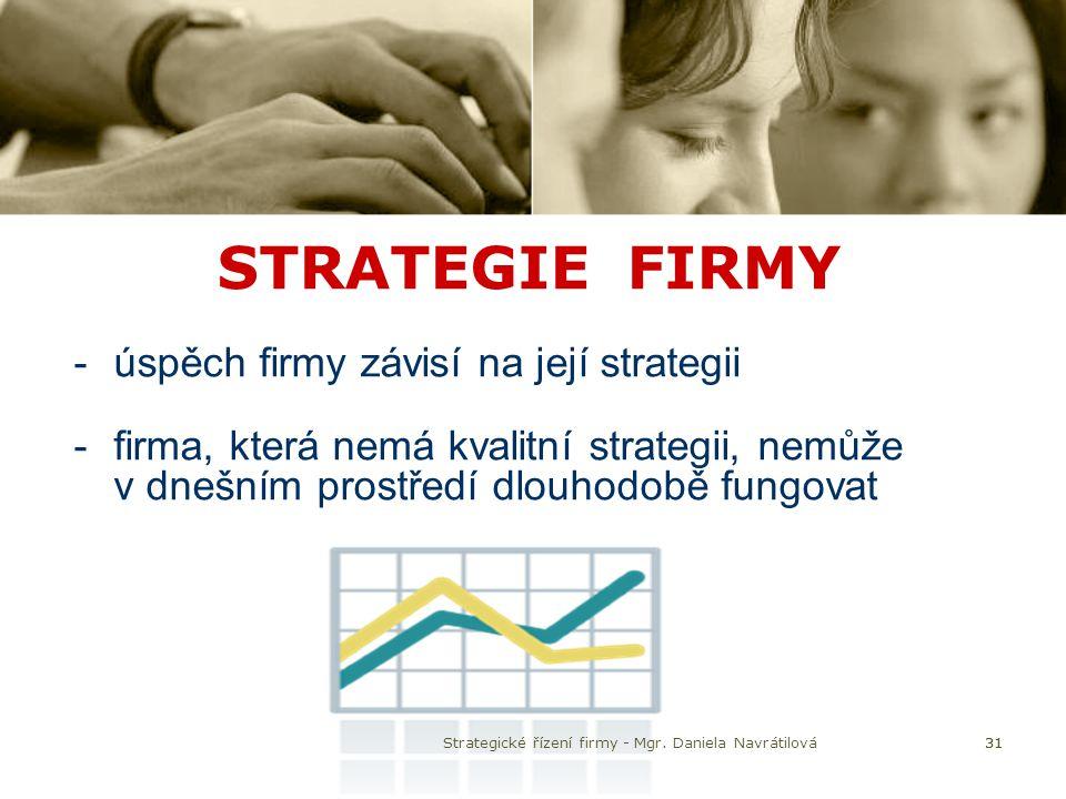 31 STRATEGIE FIRMY -úspěch firmy závisí na její strategii -firma, která nemá kvalitní strategii, nemůže v dnešním prostředí dlouhodobě fungovat Strate