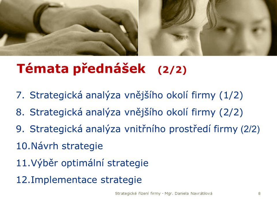 Témata přednášek (2/2) 7.Strategická analýza vnějšího okolí firmy (1/2) 8.Strategická analýza vnějšího okolí firmy (2/2) 9.Strategická analýza vnitřní