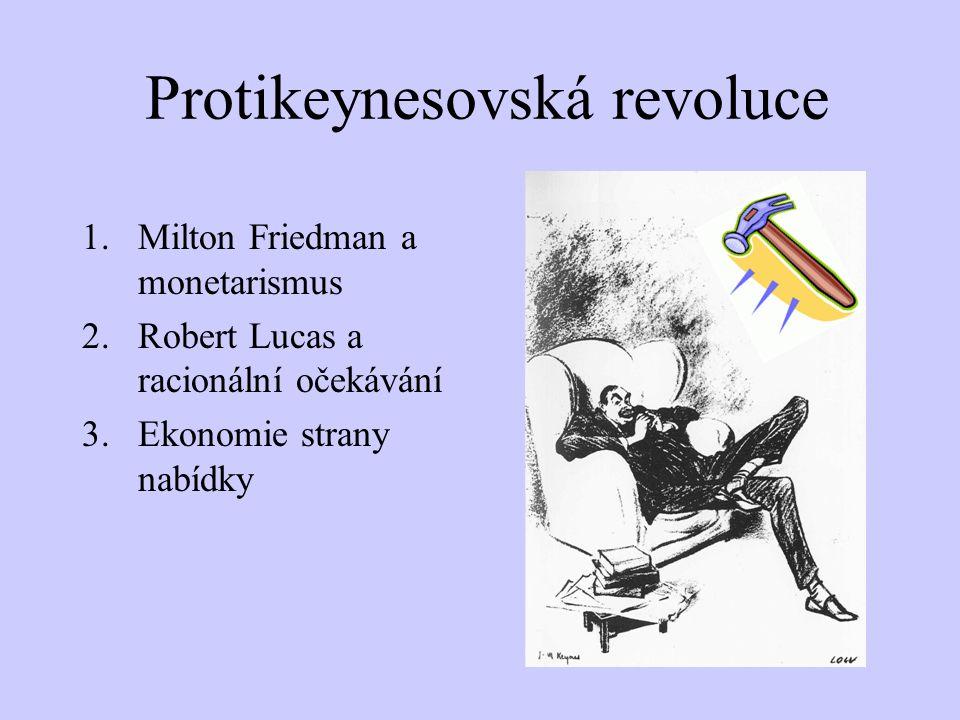Protikeynesovská revoluce 1.Milton Friedman a monetarismus 2.Robert Lucas a racionální očekávání 3.Ekonomie strany nabídky