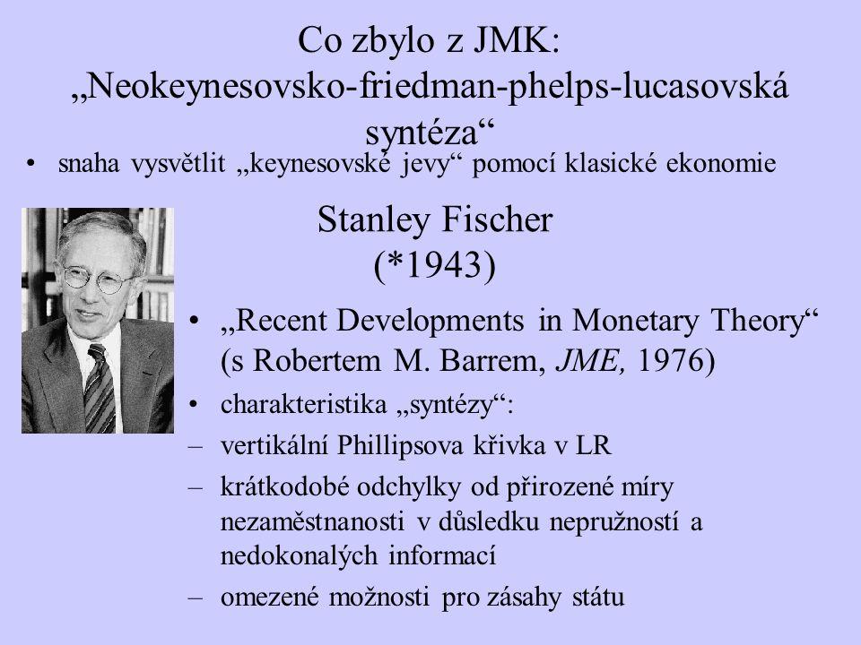 """""""Recent Developments in Monetary Theory"""" (s Robertem M. Barrem, JME, 1976) charakteristika """"syntézy"""": –vertikální Phillipsova křivka v LR –krátkodobé"""