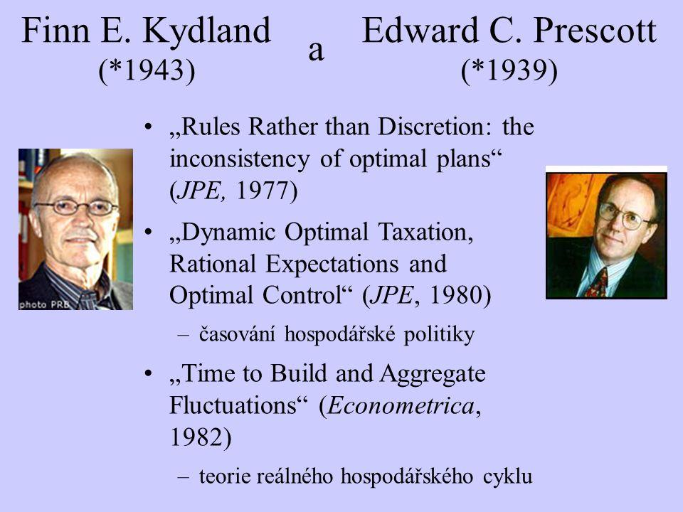 """""""Rules Rather than Discretion: the inconsistency of optimal plans (JPE, 1977) """"Dynamic Optimal Taxation, Rational Expectations and Optimal Control (JPE, 1980) –časování hospodářské politiky """"Time to Build and Aggregate Fluctuations (Econometrica, 1982) –teorie reálného hospodářského cyklu Finn E."""