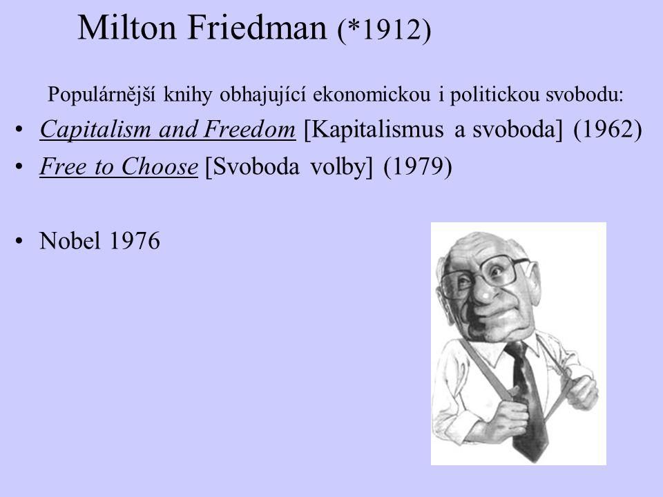 Milton Friedman (*1912) Populárnější knihy obhajující ekonomickou i politickou svobodu: Capitalism and Freedom [Kapitalismus a svoboda] (1962) Free to
