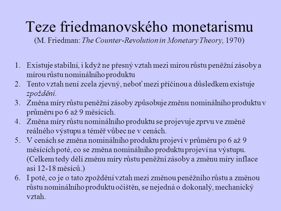 Teze friedmanovského monetarismu (M. Friedman: The Counter-Revolution in Monetary Theory, 1970) 1.Existuje stabilní, i když ne přesný vztah mezi mírou