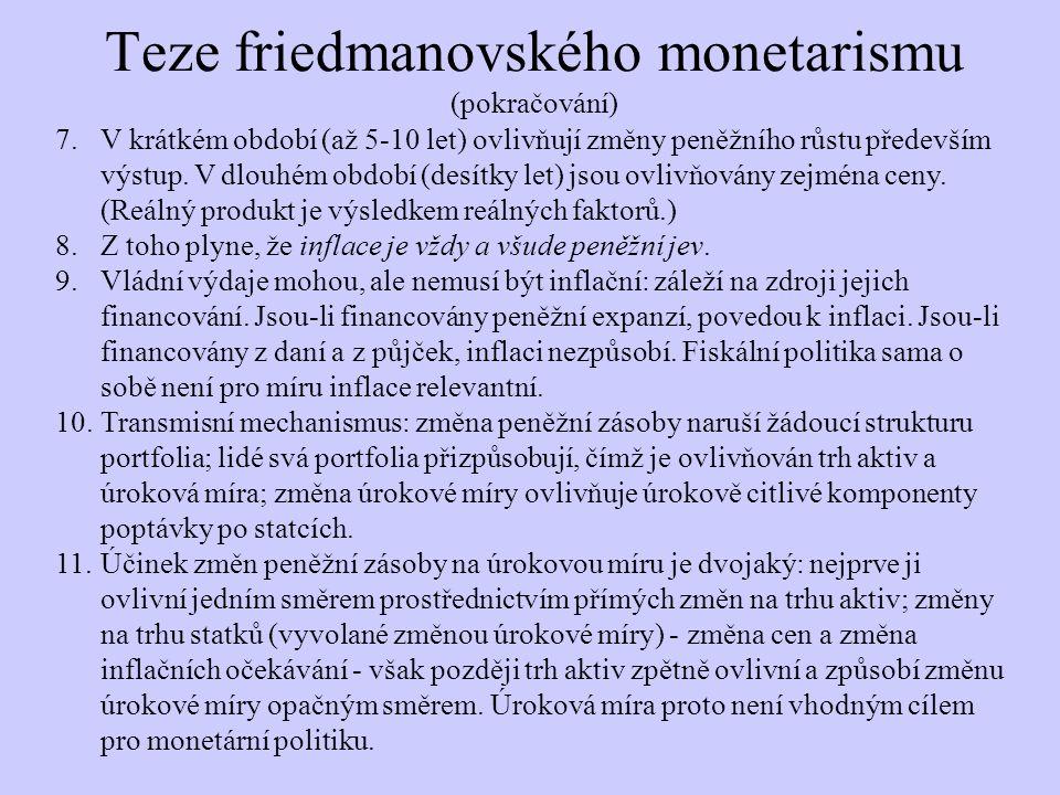 Teze friedmanovského monetarismu (pokračování) 7.V krátkém období (až 5-10 let) ovlivňují změny peněžního růstu především výstup. V dlouhém období (de