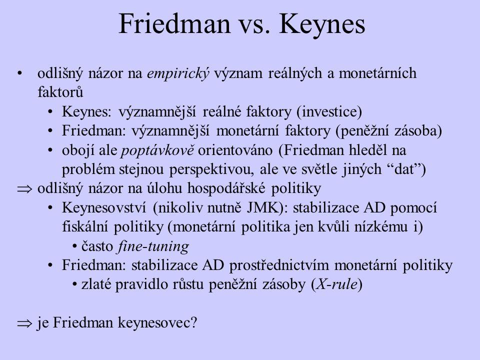 Friedman vs. Keynes odlišný názor na empirický význam reálných a monetárních faktorů Keynes: významnější reálné faktory (investice) Friedman: významně