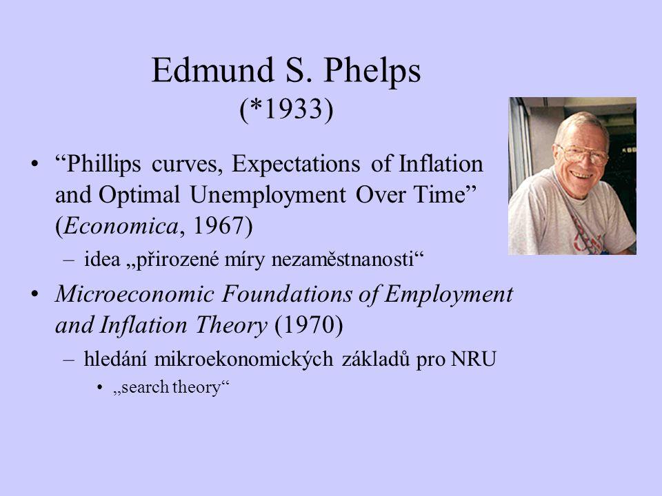 "Edmund S. Phelps (*1933) ""Phillips curves, Expectations of Inflation and Optimal Unemployment Over Time"" (Economica, 1967) –idea ""přirozené míry nezam"