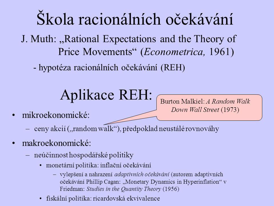 """Aplikace REH: mikroekonomické: –ceny akcií (""""random walk""""), předpoklad neustálé rovnováhy makroekonomické: –neúčinnost hospodářské politiky monetární"""