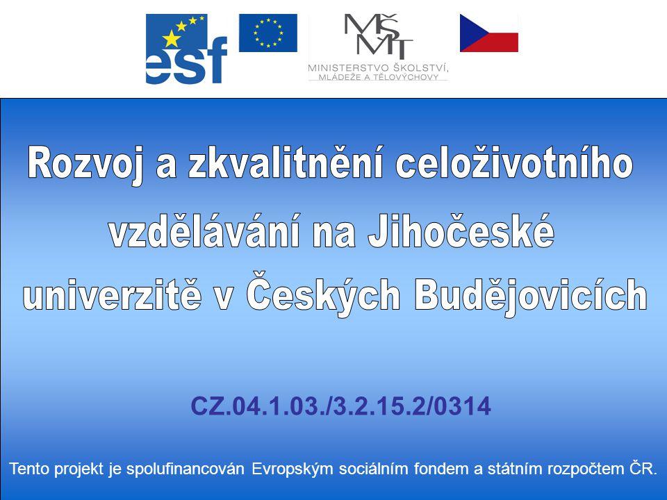 CZ.04.1.03./3.2.15.2/0314 Tento projekt je spolufinancován Evropským sociálním fondem a státním rozpočtem ČR.
