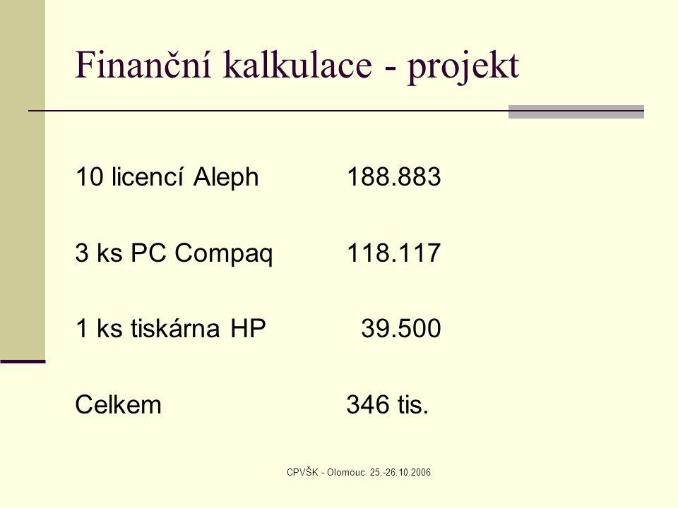 CPVŠK - Olomouc 25.-26.10.2006 Finanční kalkulace - projekt 10 licencí Aleph188.883 3 ks PC Compaq118.117 1 ks tiskárna HP 39.500 Celkem346 tis.