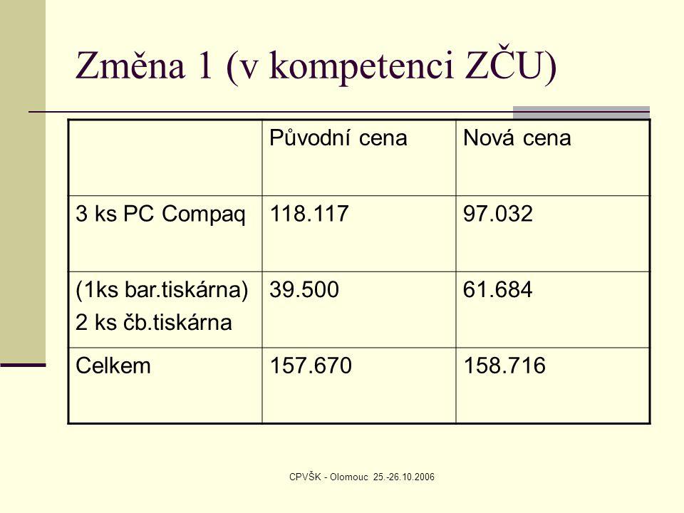 CPVŠK - Olomouc 25.-26.10.2006 Změna 1 (v kompetenci ZČU) Původní cenaNová cena 3 ks PC Compaq118.11797.032 (1ks bar.tiskárna) 2 ks čb.tiskárna 39.50061.684 Celkem157.670158.716