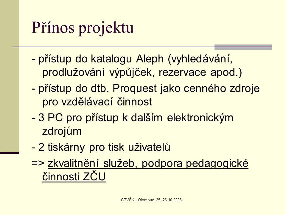 CPVŠK - Olomouc 25.-26.10.2006 Přínos projektu - přístup do katalogu Aleph (vyhledávání, prodlužování výpůjček, rezervace apod.) - přístup do dtb. Pro