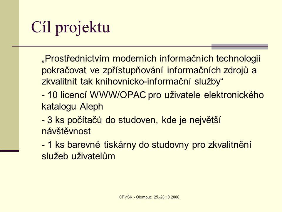 """CPVŠK - Olomouc 25.-26.10.2006 Cíl projektu """"Prostřednictvím moderních informačních technologií pokračovat ve zpřístupňování informačních zdrojů a zkvalitnit tak knihovnicko-informační služby - 10 licencí WWW/OPAC pro uživatele elektronického katalogu Aleph - 3 ks počítačů do studoven, kde je největší návštěvnost - 1 ks barevné tiskárny do studovny pro zkvalitnění služeb uživatelům"""