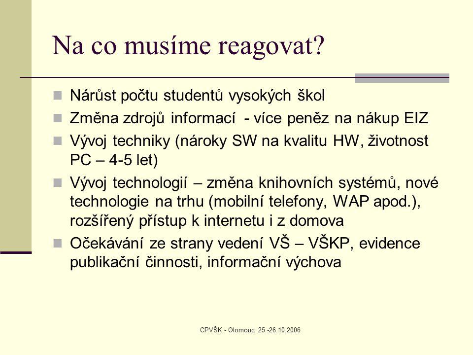 CPVŠK - Olomouc 25.-26.10.2006 Na co musíme reagovat? Nárůst počtu studentů vysokých škol Změna zdrojů informací - více peněz na nákup EIZ Vývoj techn