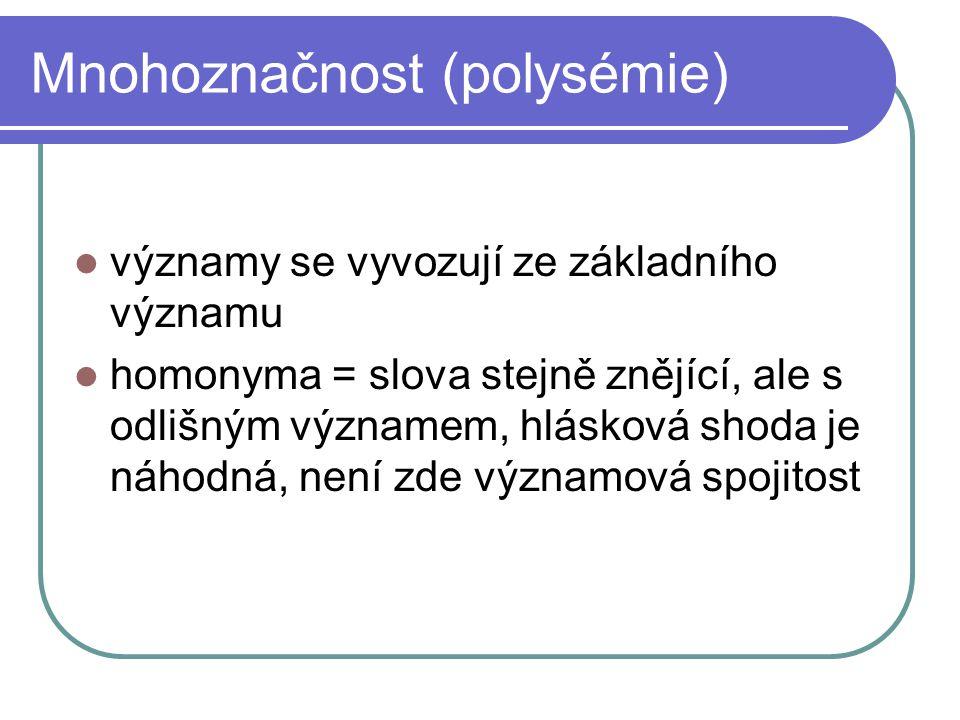 Mnohoznačnost (polysémie) významy se vyvozují ze základního významu homonyma = slova stejně znějící, ale s odlišným významem, hlásková shoda je náhodn