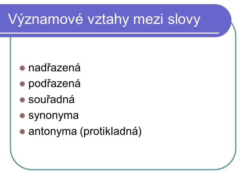Významové vztahy mezi slovy nadřazená podřazená souřadná synonyma antonyma (protikladná)