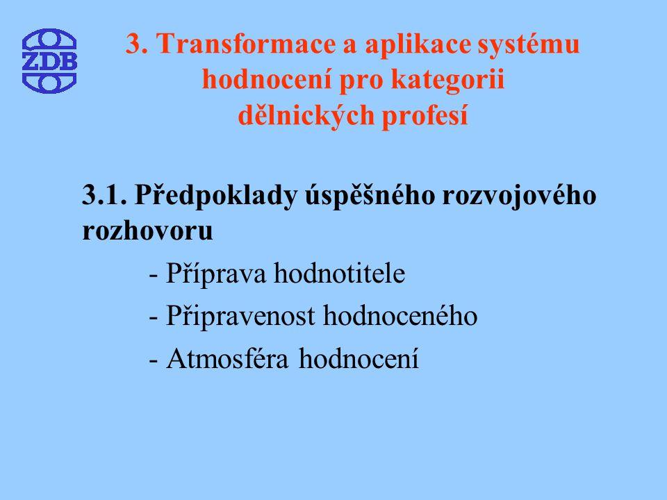 3. Transformace a aplikace systému hodnocení pro kategorii dělnických profesí 3.1. Předpoklady úspěšného rozvojového rozhovoru - Příprava hodnotitele