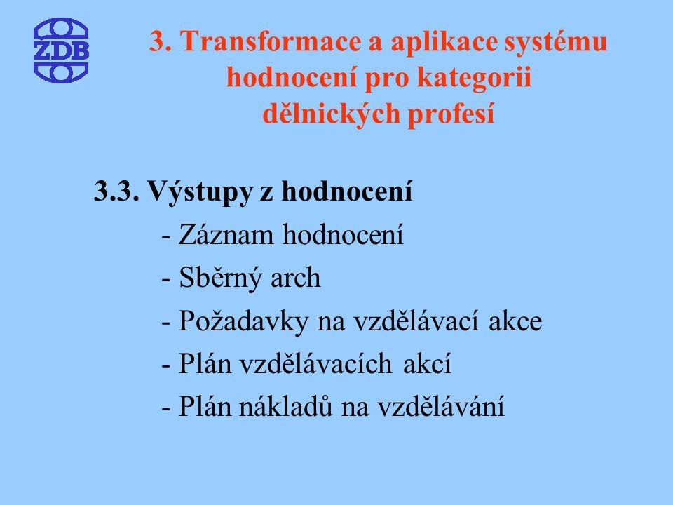 3. Transformace a aplikace systému hodnocení pro kategorii dělnických profesí 3.3. Výstupy z hodnocení - Záznam hodnocení - Sběrný arch - Požadavky na
