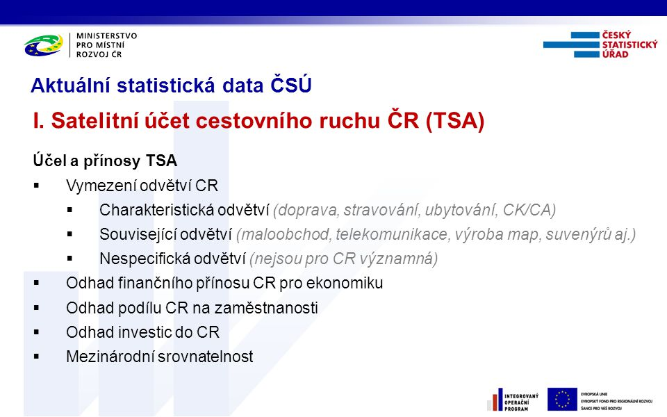 Aktuální statistická data ČSÚ I. Satelitní účet cestovního ruchu ČR (TSA) Účel a přínosy TSA  Vymezení odvětví CR  Charakteristická odvětví (doprava