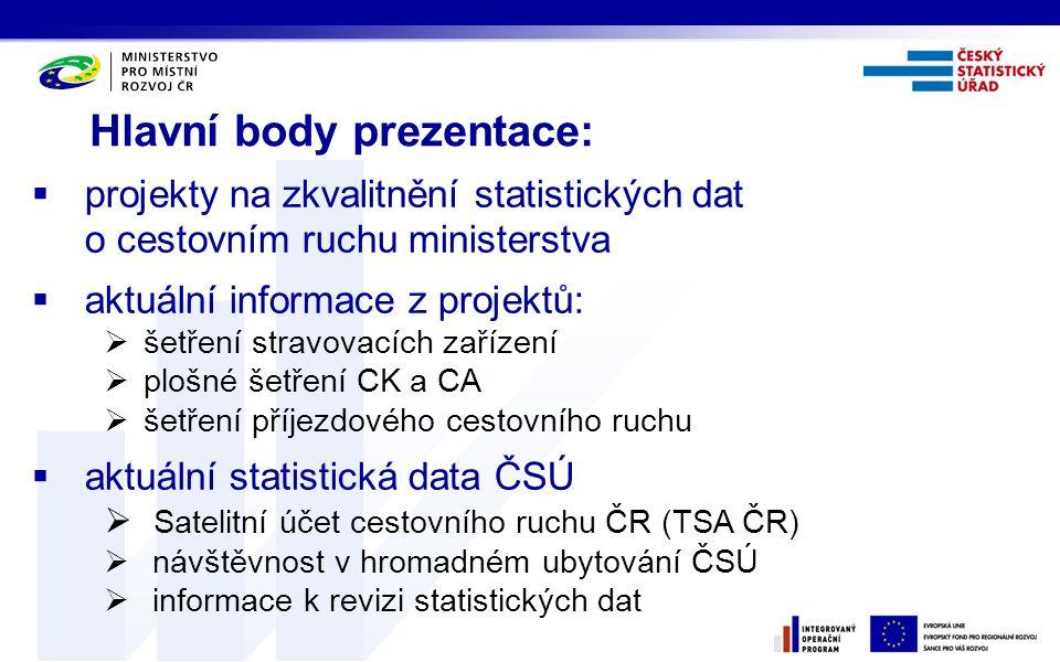 Hlavní body prezentace:  projekty na zkvalitnění statistických dat o cestovním ruchu ministerstva  aktuální informace z projektů:  šetření stravova