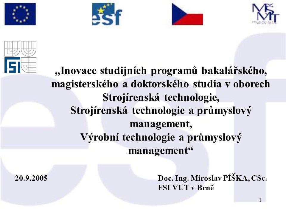 1 20.9.2005Doc. Ing. Miroslav PÍŠKA, CSc.