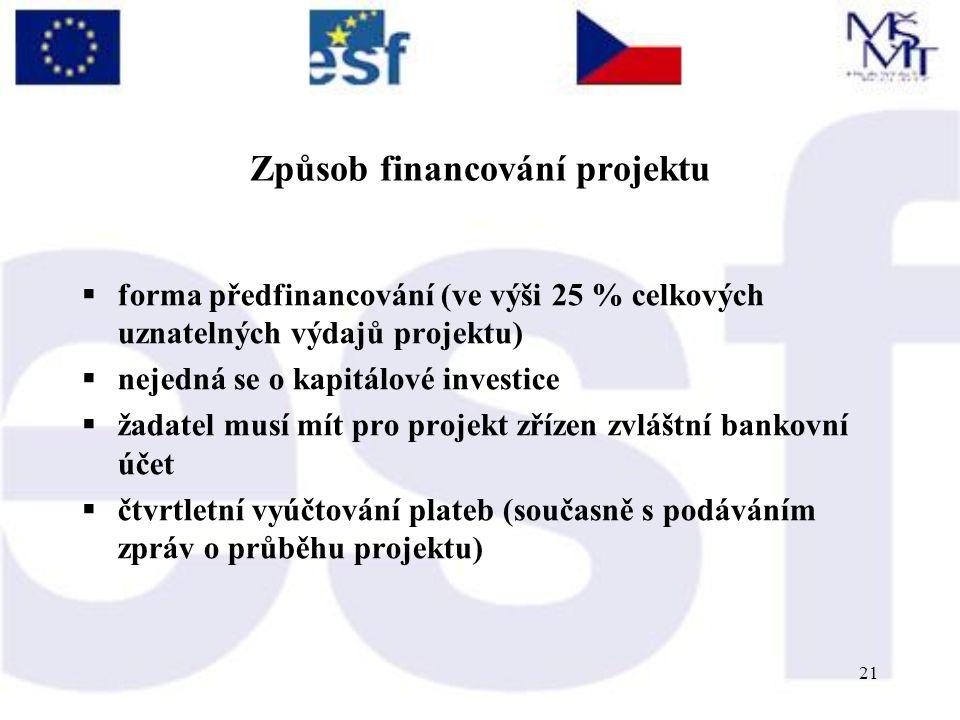 21 Způsob financování projektu  forma předfinancování (ve výši 25 % celkových uznatelných výdajů projektu)  nejedná se o kapitálové investice  žadatel musí mít pro projekt zřízen zvláštní bankovní účet  čtvrtletní vyúčtování plateb (současně s podáváním zpráv o průběhu projektu)