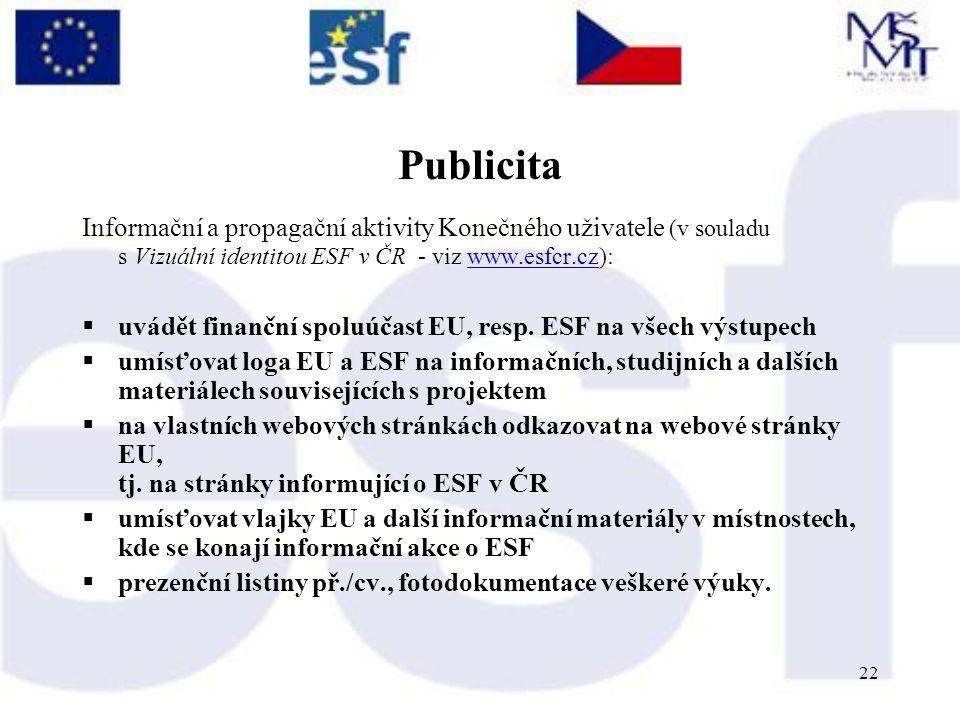 22 Publicita Informační a propagační aktivity Konečného uživatele (v souladu s Vizuální identitou ESF v ČR - viz www.esfcr.cz):www.esfcr.cz  uvádět finanční spoluúčast EU, resp.