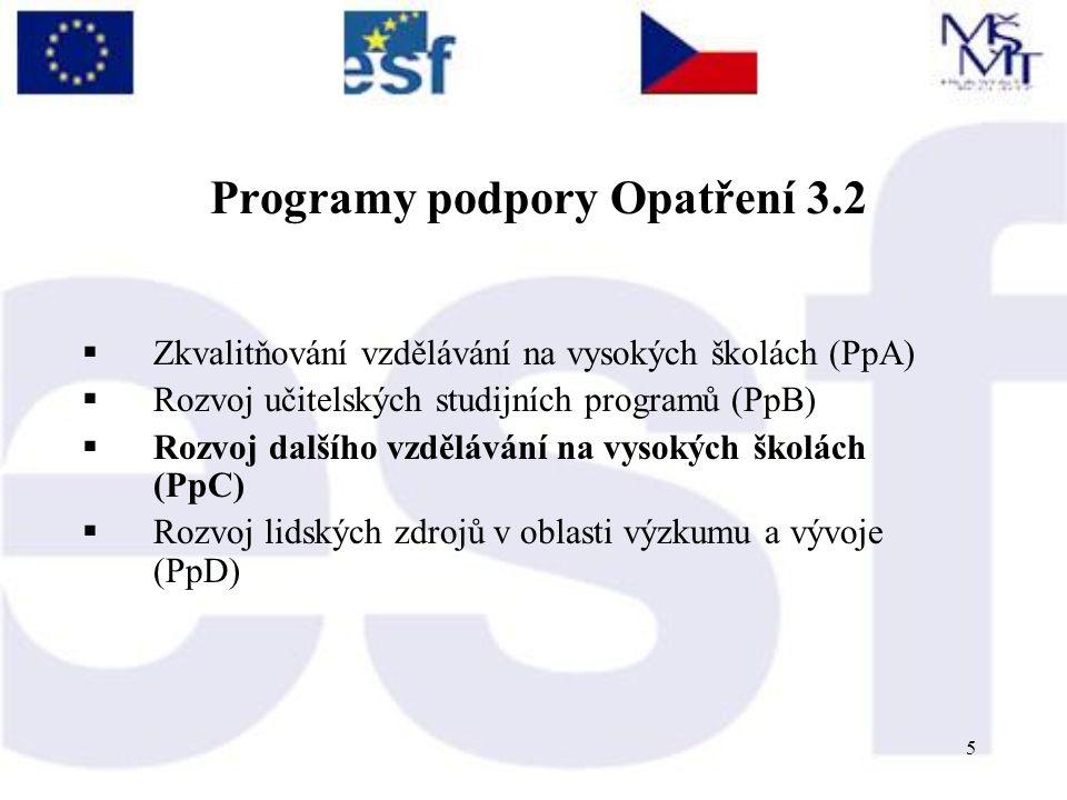 5 Programy podpory Opatření 3.2  Zkvalitňování vzdělávání na vysokých školách (PpA)  Rozvoj učitelských studijních programů (PpB)  Rozvoj dalšího vzdělávání na vysokých školách (PpC)  Rozvoj lidských zdrojů v oblasti výzkumu a vývoje (PpD)