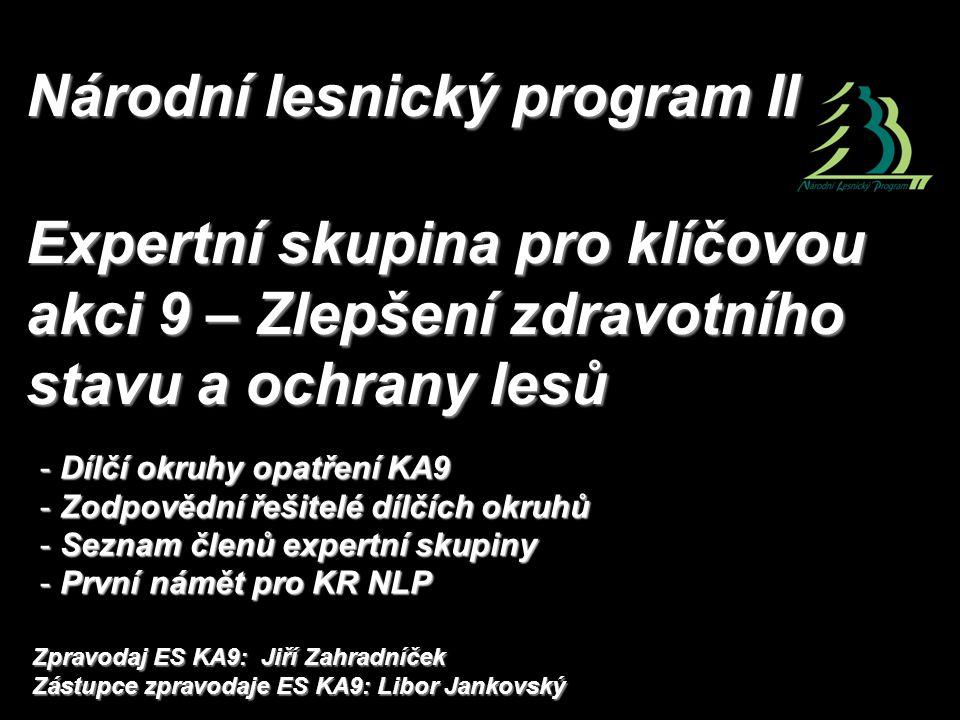 Národní lesnický program II Expertní skupina pro klíčovou akci 9 – Zlepšení zdravotního stavu a ochrany lesů - Dílčí okruhy opatření KA9 - Zodpovědní