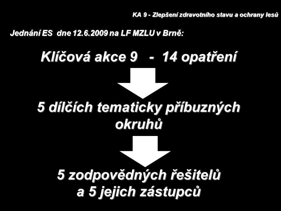 KA 9 - Zlepšení zdravotního stavu a ochrany lesů Klíčová akce 9 - 14 opatření 5 dílčích tematicky příbuzných okruhů 5 zodpovědných řešitelů a 5 jejich zástupců Jednání ES dne 12.6.2009 na LF MZLU v Brně: