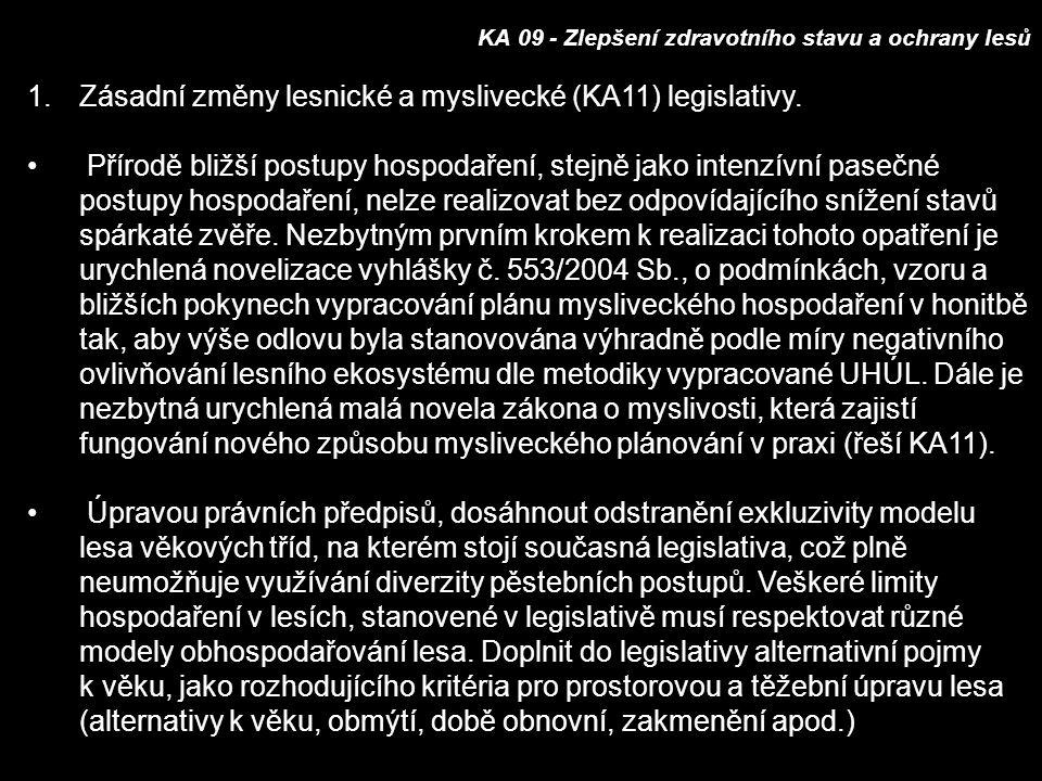 KA 09 - Zlepšení zdravotního stavu a ochrany lesů 1.Zásadní změny lesnické a myslivecké (KA11) legislativy.
