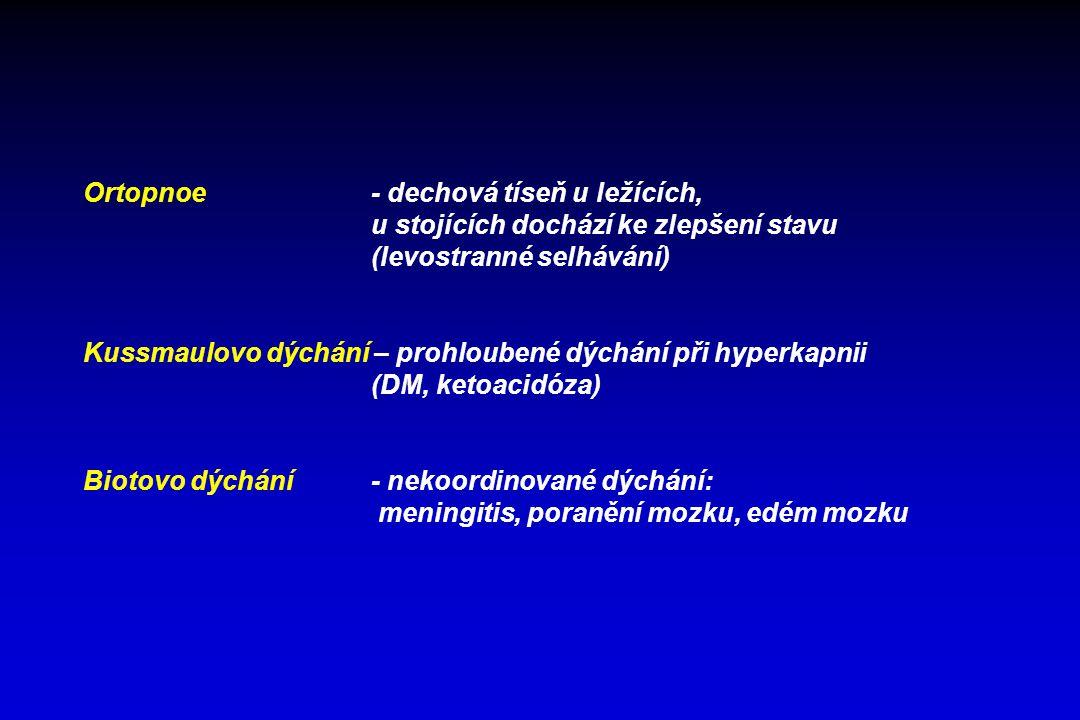 Ortopnoe- dechová tíseň u ležících, u stojících dochází ke zlepšení stavu (levostranné selhávání) Kussmaulovo dýchání – prohloubené dýchání při hyperk