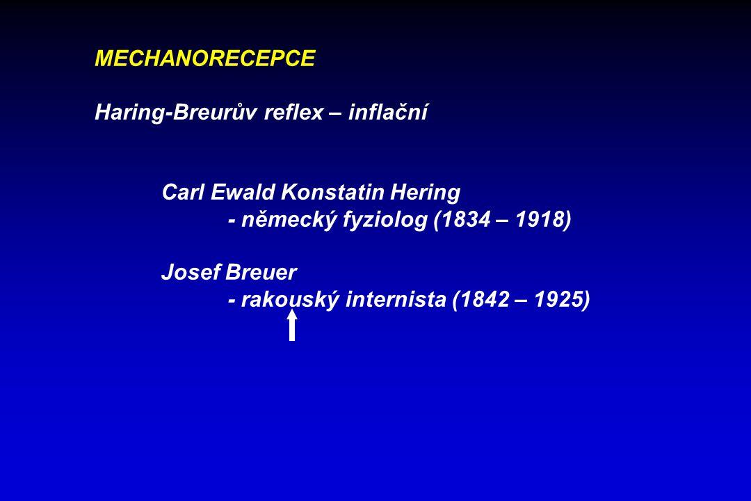 MECHANORECEPCE Haring-Breurův reflex – inflační Carl Ewald Konstatin Hering - německý fyziolog (1834 – 1918) Josef Breuer - rakouský internista (1842