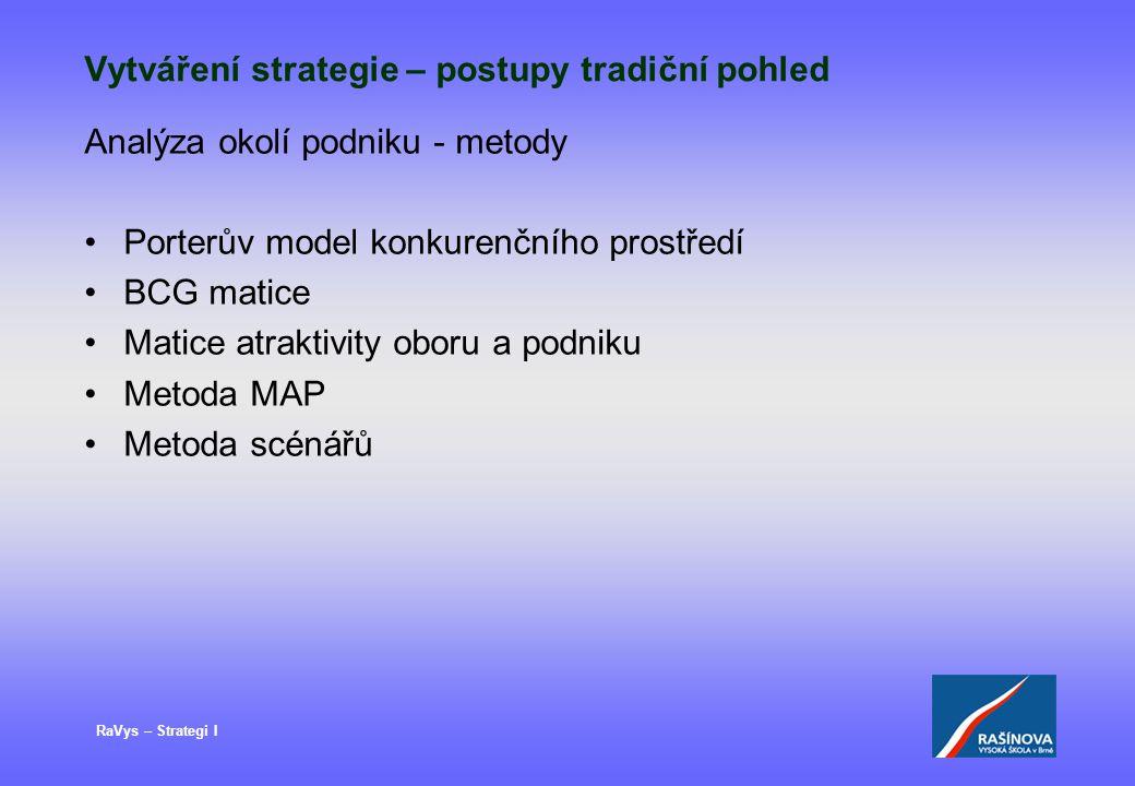 RaVys – Strategi I Vytváření strategie – postupy tradiční pohled Analýza okolí podniku - metody Porterův model konkurenčního prostředí BCG matice Mati