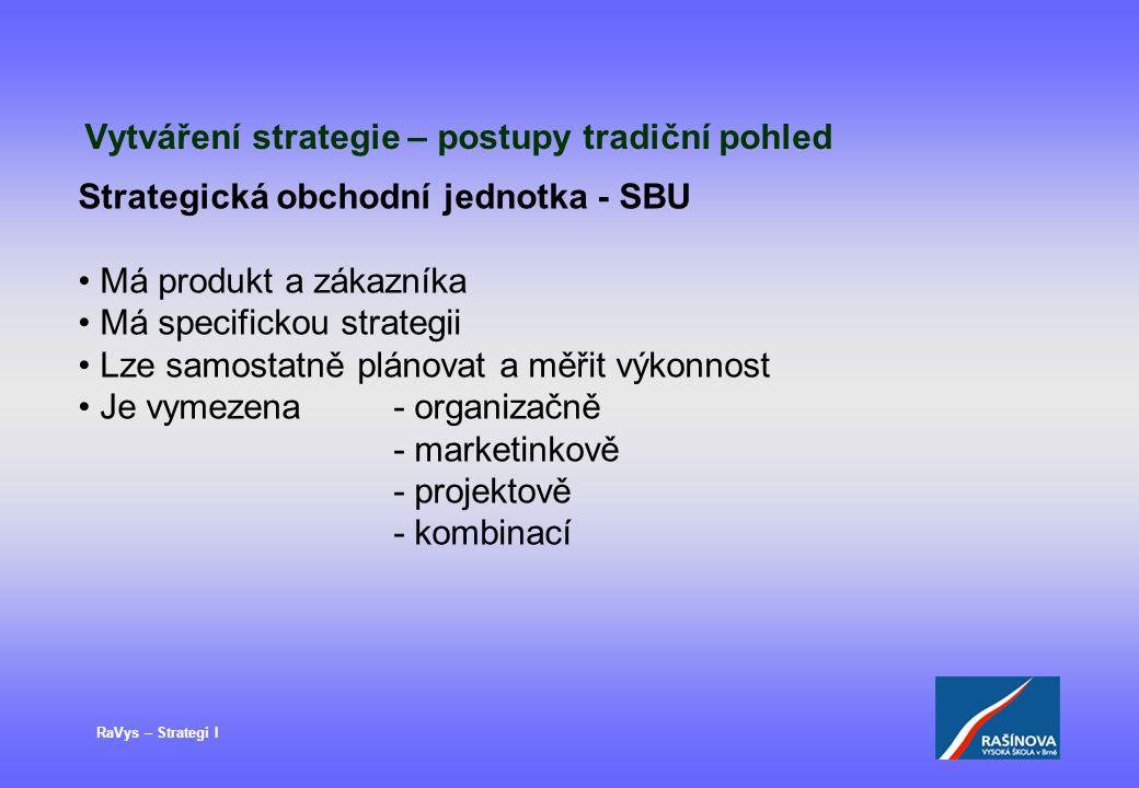 RaVys – Strategi I Vytváření strategie – postupy tradiční pohled Strategická obchodní jednotka - SBU Má produkt a zákazníka Má specifickou strategii L