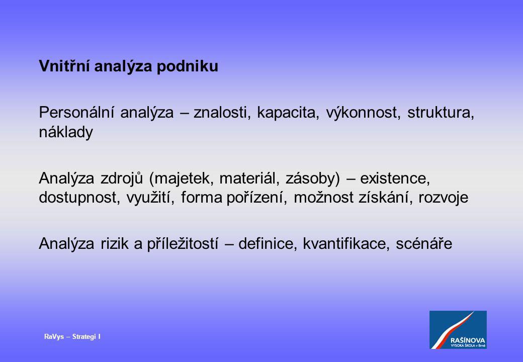 RaVys – Strategi I Vnitřní analýza podniku Personální analýza – znalosti, kapacita, výkonnost, struktura, náklady Analýza zdrojů (majetek, materiál, z