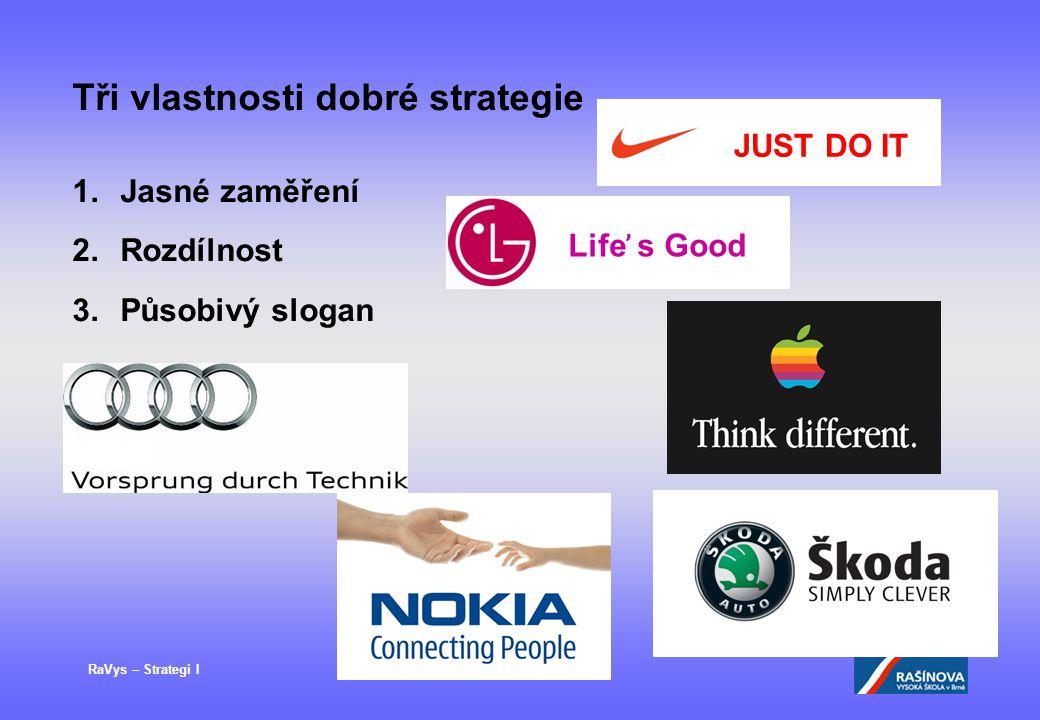 RaVys – Strategi I Tři vlastnosti dobré strategie 1.Jasné zaměření 2.Rozdílnost 3.Působivý slogan JUST DO IT Life ̕ s Good