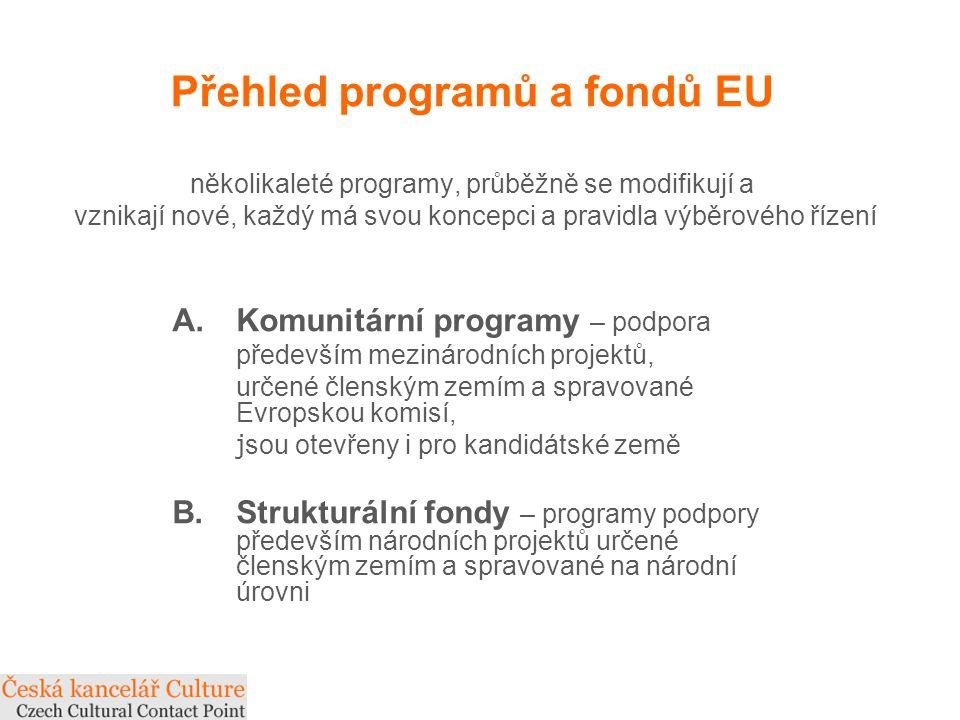 Přehled programů a fondů EU několikaleté programy, průběžně se modifikují a vznikají nové, každý má svou koncepci a pravidla výběrového řízení A.Komunitární programy – podpora především mezinárodních projektů, určené členským zemím a spravované Evropskou komisí, j sou otevřeny i pro kandidátské země B.Strukturální fondy – programy podpory především národních projektů určené členským zemím a spravované na národní úrovni