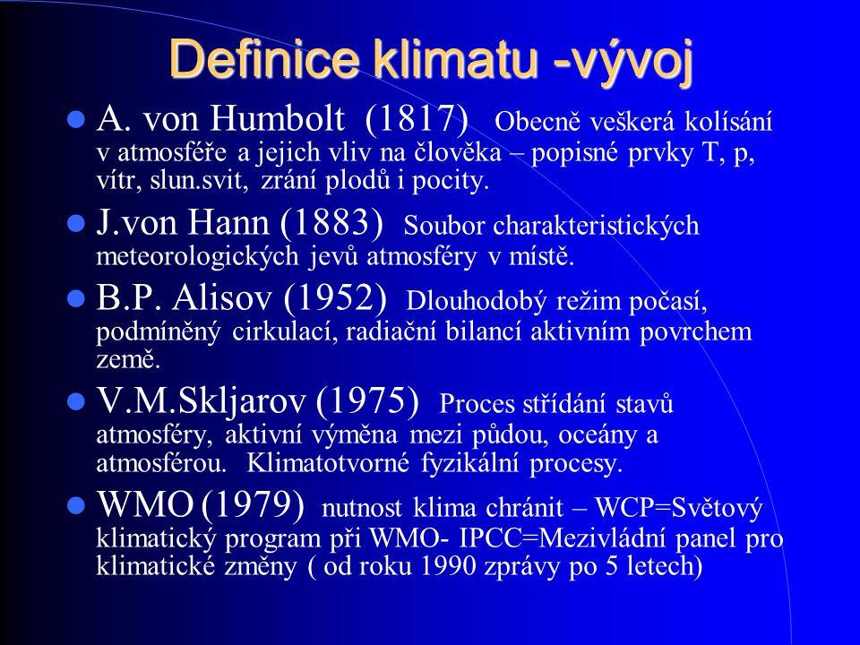Definice klimatu -vývoj A. von Humbolt (1817) Obecně veškerá kolísání v atmosféře a jejich vliv na člověka – popisné prvky T, p, vítr, slun.svit, zrán