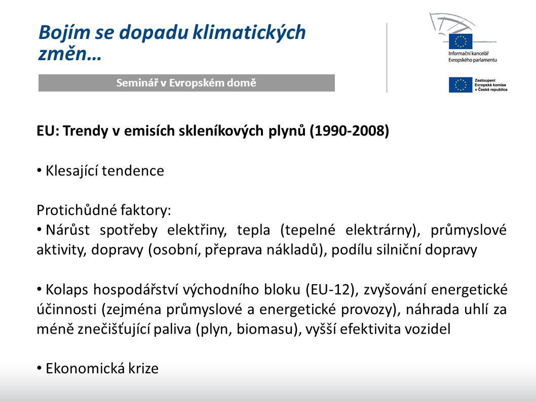 Bojím se dopadu klimatických změn… Seminář v Evropském domě EU: Trendy v emisích skleníkových plynů (1990-2008) Klesající tendence Protichůdné faktory: Nárůst spotřeby elektřiny, tepla (tepelné elektrárny), průmyslové aktivity, dopravy (osobní, přeprava nákladů), podílu silniční dopravy Kolaps hospodářství východního bloku (EU-12), zvyšování energetické účinnosti (zejména průmyslové a energetické provozy), náhrada uhlí za méně znečišťující paliva (plyn, biomasu), vyšší efektivita vozidel Ekonomická krize