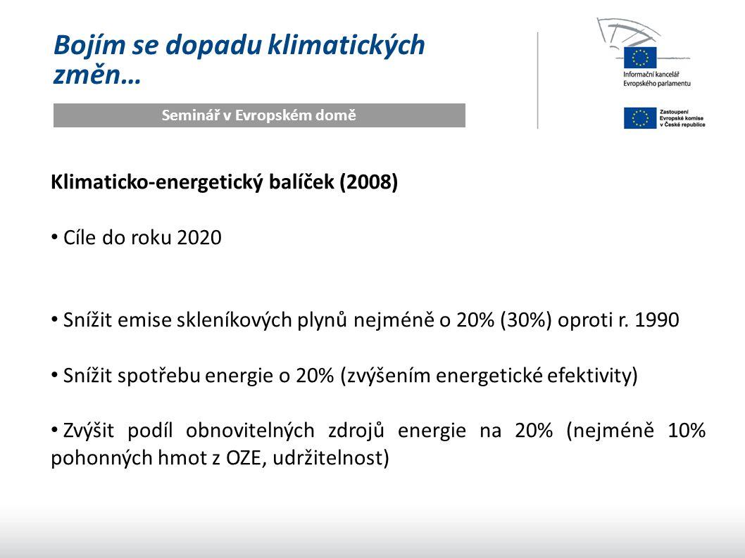 Bojím se dopadu klimatických změn… Seminář v Evropském domě Klimaticko-energetický balíček (2008) Cíle do roku 2020 Snížit emise skleníkových plynů nejméně o 20% (30%) oproti r.