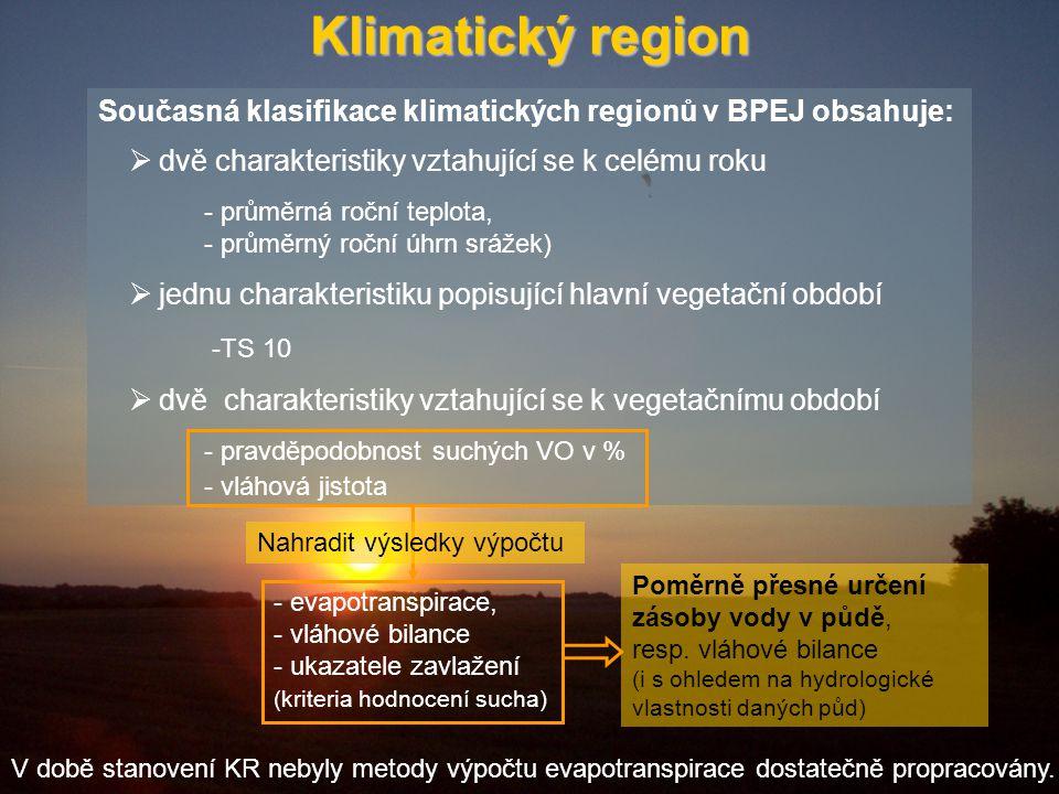 Klimatický region Současná klasifikace klimatických regionů v BPEJ obsahuje:  dvě charakteristiky vztahující se k celému roku - průměrná roční teplota, - průměrný roční úhrn srážek)  jednu charakteristiku popisující hlavní vegetační období -TS 10  dvě charakteristiky vztahující se k vegetačnímu období - pravděpodobnost suchých VO v % - vláhová jistota - evapotranspirace, - vláhové bilance - ukazatele zavlažení (kriteria hodnocení sucha) Nahradit výsledky výpočtu Poměrně přesné určení zásoby vody v půdě, resp.