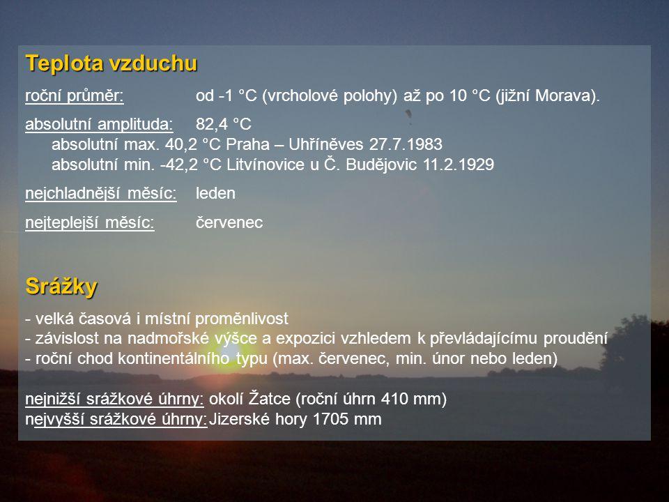 Teplota vzduchu roční průměr:od -1 °C (vrcholové polohy) až po 10 °C (jižní Morava).