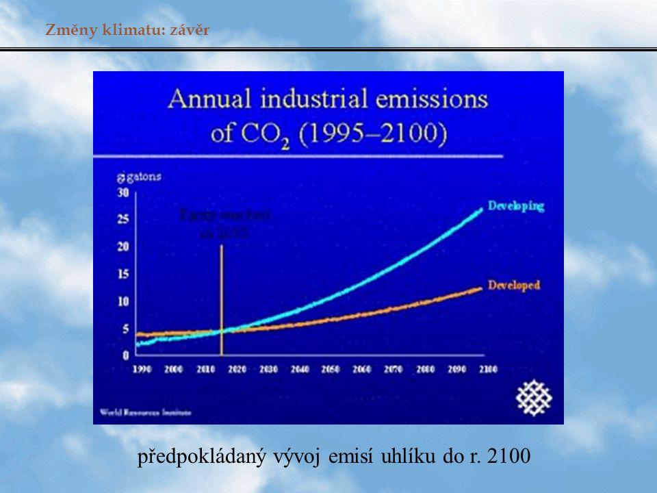 Změny klimatu: závěr předpokládaný vývoj emisí uhlíku do r. 2100